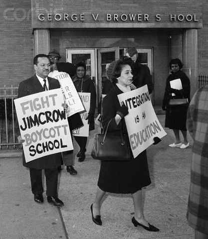 Milton Galamison with Picketers at School